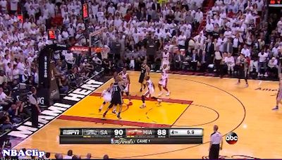 Tony Parker With An Amazing Buzzer Beater Clutch Shot To Win Game 1 For Spurs Vs. Heat [Fixed]